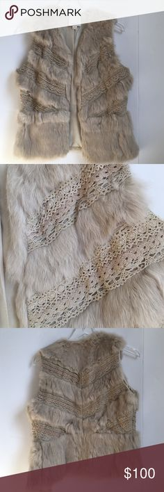 Rabbit and Lace Vest Amazing light tan rabbit fur and Lace vest.  Hook closer in the front.  Size small. aryn k Jackets & Coats Vests