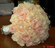 Pink and ivory bouquet with crystals