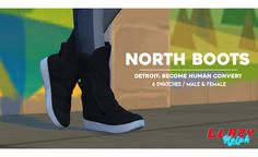 """wow so my lazy ass finally did something with the dbh files huh here's North's boots from one of her outfits! ye nice go crazy Connor's suit shoes coming tomorrow. """" - Converted from Detroit: Become. The Sims 4 Pc, Sims 4 Mm Cc, Sims Four, Sims 4 Cas, Sims Stories, Sims 4 Cc Shoes, Suit Shoes, The Sims 4 Download, Sims 4 Cc Finds"""