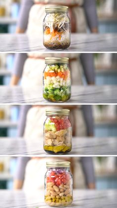 Mason jar meals, meals in a jar, mason jar lunch Mason Jar Lunch, Mason Jar Meals, Meals In A Jar, Mason Jar Recipes, Mason Jars, Healthy Drinks, Healthy Recipes, Best Lunch Recipes, Nutrition Drinks
