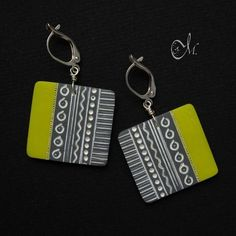"""Polymer clay earrings """"Contrast"""" by Melita"""