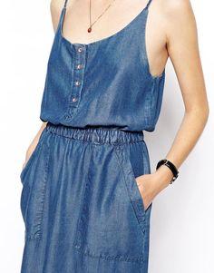 ASOS | ASOS Denim Cami Midi Dress in Dark Wash at ASOS