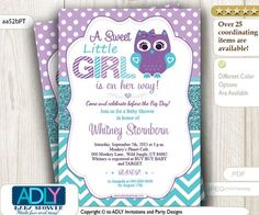 Purple Teal Girl Owl Baby Shower Invitation, $15.00 (http://www.adlybabyshower.com/purple-teal-girl-owl-baby-shower-invitation/)