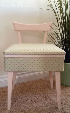 Kenmore Mid-Century Modern Sewing Chair with Storage   Mid ...