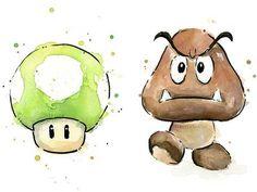 Super Mario Bros Themed Portrait Watercolor Art Prints