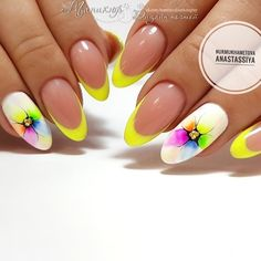Beach nails Beautiful nails to the sea french manicure with a flower Manicure by yellow dress Original French manicure Smart nails Summer french nails Summer nails 2019 Smart Nails, Cute Nails, Pretty Nails, Spring Nail Art, Spring Nails, Summer Nails, Yellow Nails Design, Yellow Nail Art, Neon Yellow Nails
