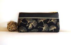 Trousse Ginkgo doré et noir Pochette à maquillage Etui à stylo Pochette cosmétique imperméable