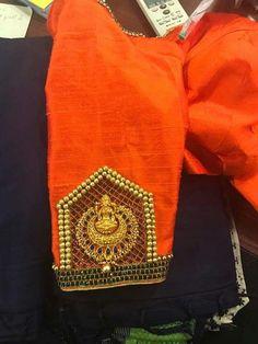 Find Pretty Orange Blouse Designs For Sarees Here Pattu Saree Blouse Designs, Blouse Designs Silk, Designer Blouse Patterns, Bridal Blouse Designs, Sari Blouse, Hand Work Blouse Design, Simple Blouse Designs, Stylish Blouse Design, Outfits