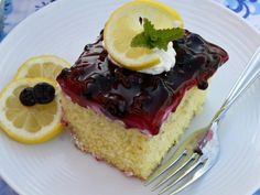 Lemon cake and Lucky Leaf blueberry fruit filling combine to create the perfect spring dessert. Pastry Recipes, Cupcake Recipes, Cupcake Cakes, Dessert Recipes, Muffin Recipes, Cupcakes, Homemade Desserts, Easy Desserts, Blueberry Fruit