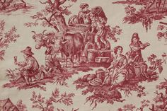Antique French Printed Linen Red Toile de Jouy Fabric Panel Heavy Weight | eBay