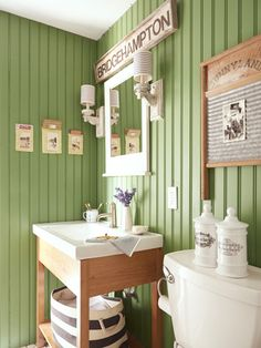 This Hamptons home& rustic bathroom—painted in Bunker Hill by Benjamin Mo. This Hamptons home& rustic bathroom—painted in Bunker Hill by Benjamin Moore—has a camp lodge vibe. Rustic Bathroom Designs, Rustic Bathrooms, Country Green Bathrooms, Small Bathrooms, Bathroom Colors, Bathroom Ideas, Bathroom Green, Bathroom Vanities, Bathroom Cabinets