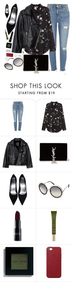 """Floral"" by smartbuyglasses ❤ liked on Polyvore featuring River Island, Yves Saint Laurent, Rituals, Bobbi Brown Cosmetics, Apple and black"