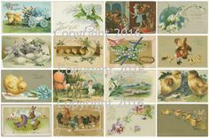 "Printed Vintage Victorian Easter Card Images Collage Sheet 8.5 x 11"" For Decoupage, Altered Art, Scrapbooking etc. Ready to use for any project, scrapbooking, crafts, jewelry etc. Professionally print"