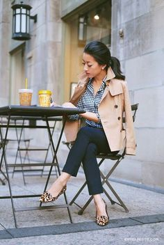 Women's White and Navy Gingham Dress Shirt, Beige Pea Coat, Navy Skinny Pants, and Tan Leopard Leather Loafers