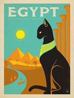 Egypt: Land of Feline Royalty - Cats rule—it's always been this way—even in ancient Egypt. This stylish regal print was inspired by Art Deco travel posters from the 1920s and 30s. Printed on gallery-grade paper, this elegant design will look great on your wall for years to come!