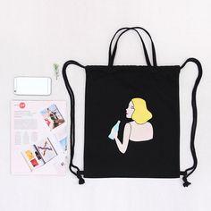 a1e09cb4eaec New Brand Fashion Printed Animal Letters Fruit Cat Black Cool Cute Backpacks  Women s Lady Travel Shopping Drawstring Bag