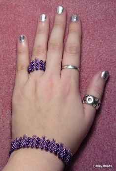 Beaded butterfly ring and bracelet