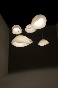 AUSUM / white / blown glass / warm LED / DARK / lighting / design / Alex de Witte / new darling