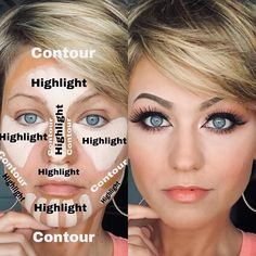 For those who like to contour, you can build your own Complexion Pallet. Shown below: Foundation-Olive 3 Highlight-Concealer 0 Contour-Concealer 5 Find your Foundation shade, and for contour buy concealers 2 to 3 shades up and 2 to 3 shades down. Maskcara Beauty, Beauty Makeup Tips, Beauty Skin, Beauty Hacks, Beauty Tutorials, Contour Makeup, Contouring And Highlighting, Skin Makeup, Make Up Yeux