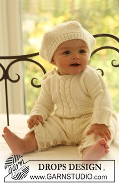 """DROPS knitted Basque hat and long sleeved jumpsuit with cables mid front in """"Merino Extra Fine"""". Free pattern by DROPS Design. Design bebe Little Lamb / DROPS Baby - Free knitting patterns by DROPS Design Baby Knitting Patterns, Baby Hats Knitting, Knitting For Kids, Baby Patterns, Free Knitting, Crochet Patterns, Baby Romper Pattern Free, Onesie Pattern, Free Pattern"""