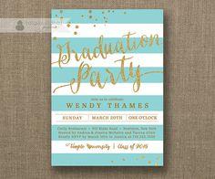 Gold & Aqua Graduation Party Invitation Gold Glitter Turquoise Teal Horizontal Stripes Modern Bachelorette DIY Digital or Printed- Wendy