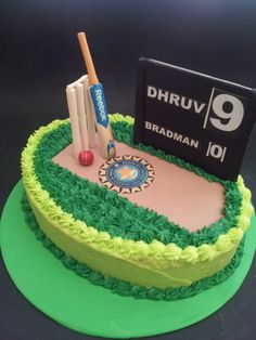 Cricket cake with bat,ball and stumps Birthday Cakes For Men, Cricket Birthday Cake, Cricket Theme Cake, Cakes For Boys, Boy Cakes, Male Birthday, 80th Birthday, Birthday Parties, Kinder Party Snacks