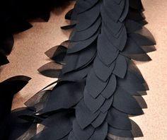 Alta calidad hojas de Gasa negro encaje Trim 1 yarda por skulllace