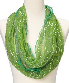 Green Sequin Lace Scarf   zulily