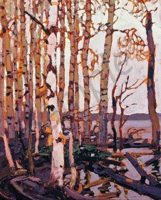 Algonquin Park by Tom Thomson This Park is in Ontario Canada, Tom was one of the famous Canadian Group of Seven. Emily Carr, Group Of Seven Art, Group Of Seven Paintings, Canadian Painters, Canadian Artists, Landscape Art, Landscape Paintings, Landscapes, Abstract Paintings