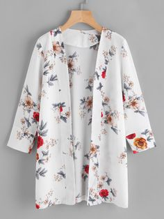 SheIn offers Random Florals Open Front Coat & more to fit your fashionable needs. SheIn offers Random Florals Open Front Coat & more to fit your fashionable needs. Kimono Fashion, Modest Fashion, Hijab Fashion, Fashion Dresses, Mode Kimono, Mode Abaya, What Is Fashion, Mode Top, Casual Hijab Outfit