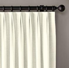 Custom Belgian Textured Linen 2-Fold Tailored-Pleat Drapery