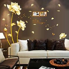 Ecurson Gold Tulip Flower Wall Stickers Removable Decal Home Decor Home Bedroom Living Room Decor DIY Art Decoration -- Click on the image for additional details.