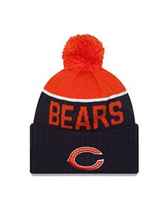 d043bded1 Chicago Bears 2015 Sport Knit Cuffed Pom Knit Cap   Beanie Official New Era  Sport Knit Headwear Team logo Embroidered on Cuff Team Colored Stripes and  Team ...