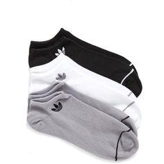 Women's Adidas Superlite 3-Pack No-Show Socks ($15) ❤ liked on Polyvore featuring intimates, hosiery, socks, black, adidas and adidas socks