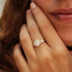 Lilly Rose Flower Moissanite Engagement Ring- 14K Gold, art deco, unique engagement ring, vintage, antique