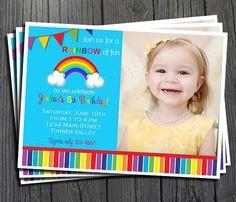 Rainbow Birthday Invitation - FREE Thank You Card included #rainty #rainbowinvite