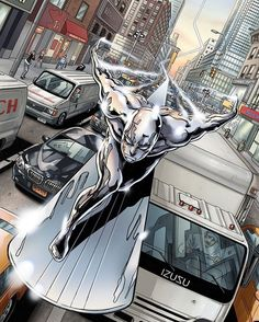Looks like my favorite scene from Fantastic Four part 2 where Johnny chases the Silver Surfer Art by Minkyu Jung Arte Dc Comics, Marvel Comics Art, Marvel Comic Books, Comic Book Characters, Comic Book Heroes, Marvel Characters, Marvel Heroes, Comic Character, Comic Books Art