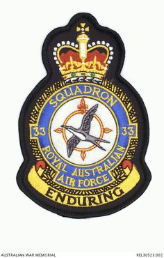 33 Squadron, Royal Australian Air Force Military Cap, Military Insignia, Military Weapons, Australian Defence Force, Royal Australian Air Force, Pax Britannica, Raster To Vector, Army Patches, Aircraft Photos