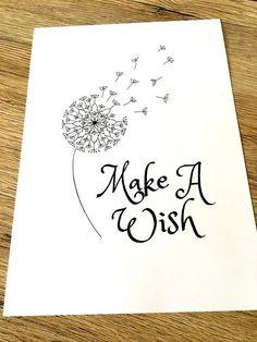 8 X 10 and A4 Make a Wish digital printable Dandelion Mandala   Etsy