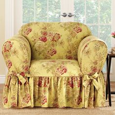 Shop Sure Fit Ballad Bouquet 1 Piece Skirted Chair Slipcover - Overstock - 12990608 - Robin's Egg Furniture Slipcovers, Slipcovers For Chairs, Furniture Covers, Doll Furniture, Chair Covers, Upholstered Furniture, Shabby Chic Furniture, Slipcover Chair, Shabby Chic Homes