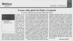 Il senso della gloria da Dante a Leopardi: una recensione al saggio di Aldo Onorati Un'amara riflessione sul presente delle belle lettere