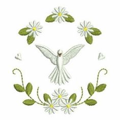 Christening Dove Wreath embroidery design