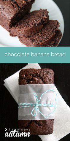 double chocolate banana bread recipe Decadent double chocolate banana bread recipe from It's Always Autumn. This looks amazing!Decadent double chocolate banana bread recipe from It's Always Autumn. This looks amazing! Just Desserts, Delicious Desserts, Dessert Recipes, Yummy Food, Think Food, Love Food, Double Chocolate Banana Bread Recipe, Banana Bread Recipes, Croissants