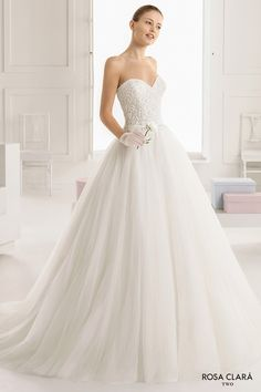 rosa clara two spring 2016 strapless sweetheart neckline embellished bodice princess ball gown wedding dress sweep train (edna) mv