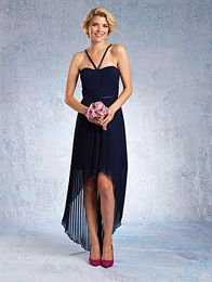 A Short Chiffon Bridesmaid Dress with a Sheer, Pleated Hi-Low Overskirt, Draped Bodice, Satin Band, and a Scooped Neckline with V-Shaped Straps