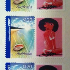 My beach babe art work on international stamps , looks pretty cool.