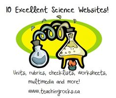 10 Excellent Science Websites! Units, rubrics, checklists, worksheets, multimedia and more! Keep this one available!