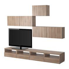 IKEA - BESTÅ, Tv-meubel, combi, Vara lichtgrijs, onderkant zwevend.