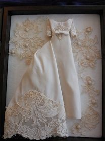 Miniature replica of your wedding dress made from your old one! Beautiful keepsake and better than keeping it in a box under the bed! Love this! Wedding Dress Story Box™