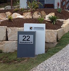 Mailbox Solutions Queensland Australia - Recently Completed House Facades, Facade House, Name Plaques, Queensland Australia, Mailbox, Dads, Exterior, Colours, Lettering